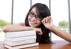 Young college student in a classroom Royalty Free Stock Photo