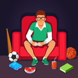 Young college student hipster playing video games. Sitting in big armchair.  Flat style vector illustration isolated on dark background Royalty Free Stock Images