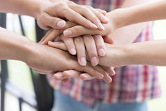 Young college student joining hand, business team touching hands. Young college student joining united hand, business team touching hands together - unity Royalty Free Stock Photos