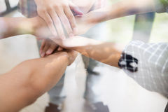 Young college student joining hand, business team touching hands. Young college student joining united hand, business team touching hands together - unity Stock Photo