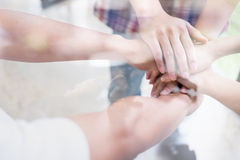 Young college student joining hand, business team touching hands. Young college student joining united hand, business team touching hands together - unity Royalty Free Stock Photo