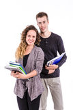 Young College Students with Books. Young College Students Posing with Books Stock Photography