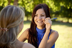 Young college students talking and studying for university exam Royalty Free Stock Images