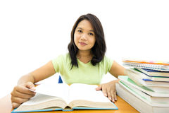 Young college woman reading Royalty Free Stock Photos