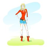 Young colorful fashion girl outdoor green grass Stock Photography