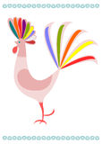 Folk colorful rooster. Stock Photos
