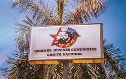 Young Communist League Sign Havana Cuba Stock Photos