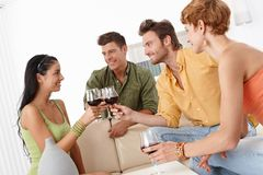 Young companionship clinking glasses Royalty Free Stock Images