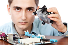 Young computer engineer. On white background Royalty Free Stock Photography