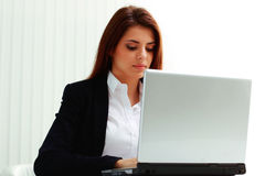 Young concentrated businesswoman looking at display laptop Stock Image