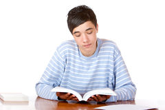 Young concentrated male student reading book Royalty Free Stock Photos