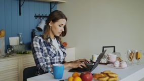 Young concentrated woman working in kitchen using laptop computer during breakfast in the morning Stock Images