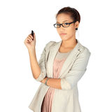 Young  confidence business woman on white Royalty Free Stock Photos