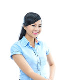 Young confident asian business woman shake hand Stock Photos