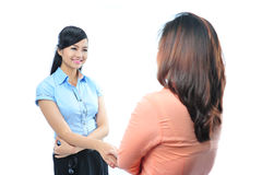 Young confident asian business woman shake hand Royalty Free Stock Image