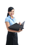 A young confident asian smiling businesswoman open Stock Photo