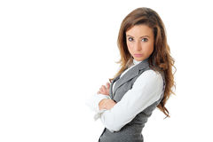 Young confident attractive businesswoman, isolated Royalty Free Stock Photos