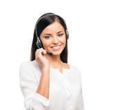 Young, confident and beautiful customer support operator Stock Photo