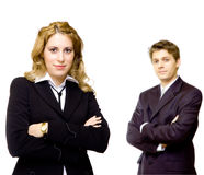 Young confident business couple. Young and confident business couple Royalty Free Stock Photo
