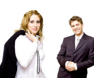Young confident business couple stock photography