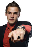 Young confident business man pointing Stock Photo