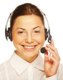 Young confident business woman operator Stock Photo