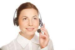 Young confident business woman operator Royalty Free Stock Photos
