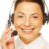 Young confident business woman operator Stock Images