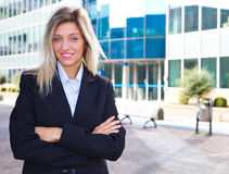 Young confident business woman smiling Royalty Free Stock Image