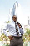 Young Confident Businessman. An confident and successful African-American businessman in a power suit Royalty Free Stock Image