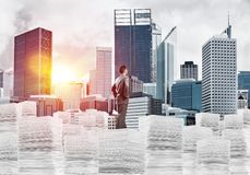 Successful confident businessman in suit. Young confident businessman in suit standing on pile of documents with cityscape and sunlight on background. Mixed vector illustration