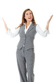Young confident businesswoman, arms rised Stock Photo
