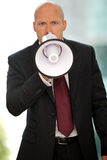Young confident caucasian businessman screaming at camera Stock Photography