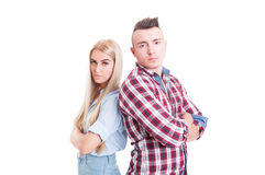 Young and confident couple back to back Stock Image
