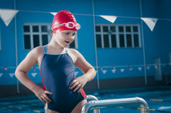 Young confident in her self girl in the pool stock images