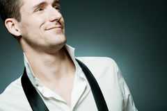 Young confident man in white shirt royalty free stock photography