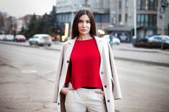 Young confident woman in city royalty free stock photos