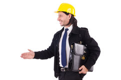 Young construction architect isolated on the white Royalty Free Stock Photo