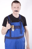 Young construction worker. With fake moustaches Stock Image