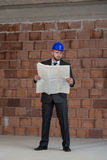 Young Construction Worker With Blueprint Royalty Free Stock Images