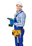 Young construction worker with electric drill. Portrait of happy young male construction worker with electric drill isolated on white background Stock Photos