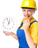 Young construction worker is going to lunch Stock Images