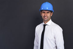 Young construction worker in hard hat Royalty Free Stock Photos