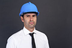 Young construction worker in hard hat Royalty Free Stock Photo
