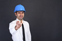 Young construction worker in hard hat Stock Photo