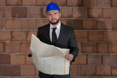 Young Construction Worker In Hard Hat Stock Image