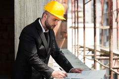 Young Construction Worker In Hard Hat Royalty Free Stock Photography