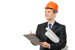 Young construction worker with helmet Royalty Free Stock Photo
