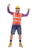 Young construction worker in helmet and brief Stock Images