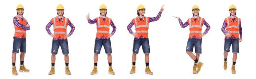 Young construction worker in helmet and briefs isolated on white Stock Image